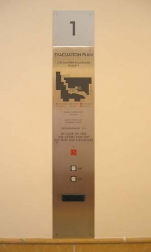 Specialty Stainless Steel Elevator Evacuation Sign