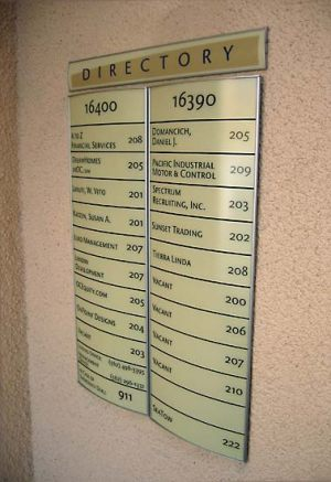 Directory Curved Aluminum Vista Frame Sign