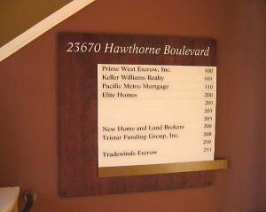 Directory Stained Wood Sign